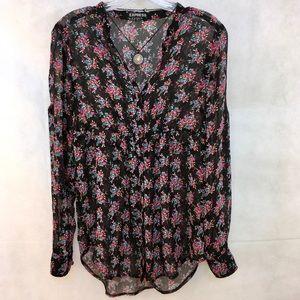 EXPRESS Long Sleeve/roll tab Sheer Floral Shirt